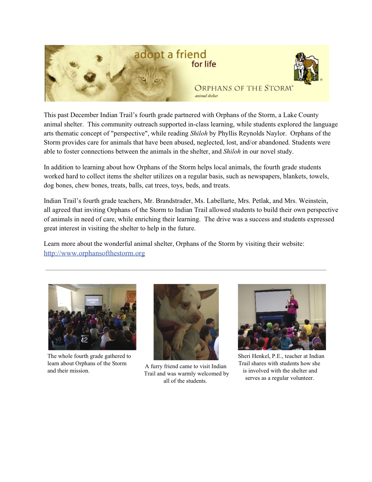 Indian Trail's Orphan of the Storm CharityDrive